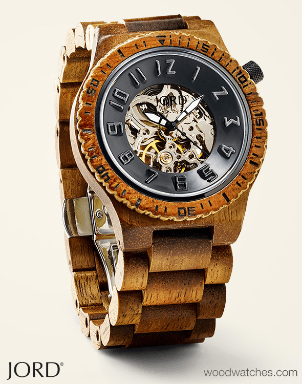 Dover Koa Amp Black Skeleton Face Wood Watch By Jord