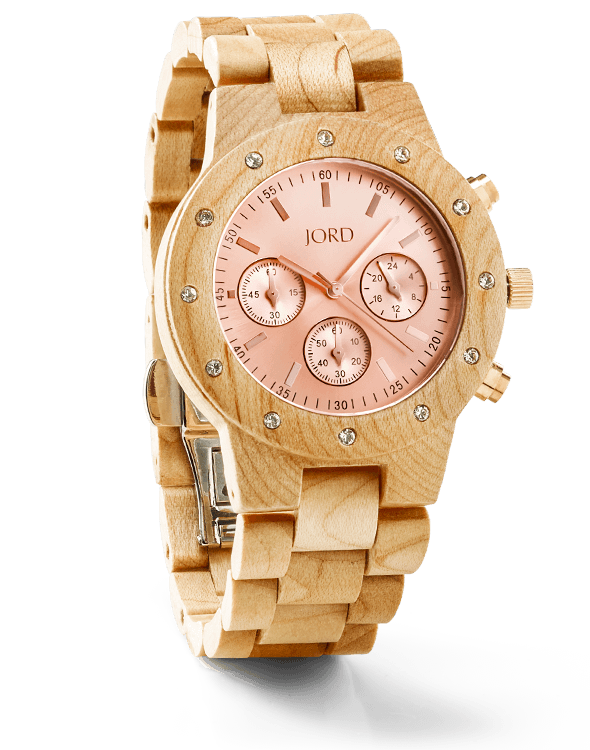 Father's Day Unique Gifts - JORD Wood Watch Chronograph Maple & Rose Gold